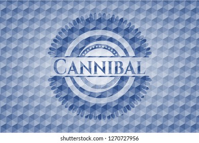 Cannibal blue emblem or badge with geometric pattern background.