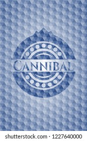 Cannibal blue emblem with geometric pattern background.