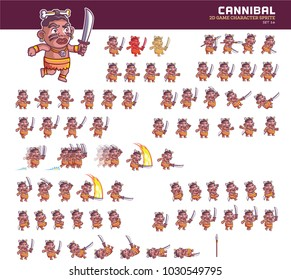 Cannibal Cartoon Game Character Animation Sprite