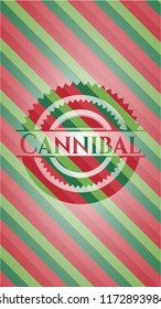 Cannibal christmas colors style badge.