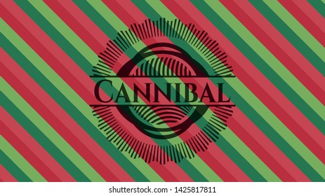 Cannibal christmas style badge. Vector Illustration. Detailed.