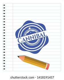 Cannibal draw with pen effect. Blue ink. Vector Illustration. Detailed.