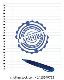 Cannibal emblem with pen effect. Blue ink. Vector Illustration. Detailed.