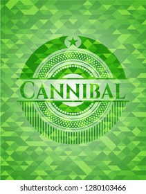 Cannibal green emblem with mosaic ecological style background