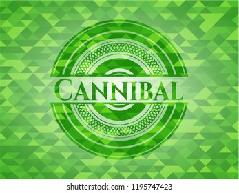 Cannibal green emblem with triangle mosaic background