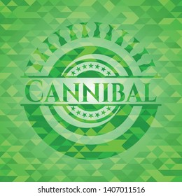 Cannibal green emblem with triangle mosaic background. Vector Illustration. Detailed.