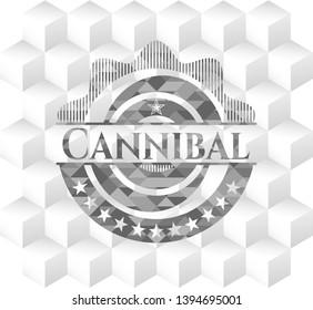 Cannibal grey emblem with geometric cube white background