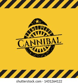 Cannibal grunge black emblem with yellow background, warning sign. Vector Illustration. Detailed.