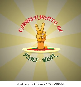 A cannibal menu with a hand making the peace sign for the word-play of peace-meal for humour concept. Vector illustration.