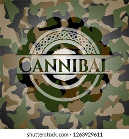 Cannibal on camouflage texture