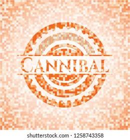 Cannibal orange mosaic emblem with background