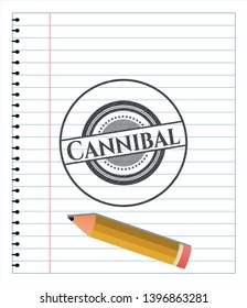 Cannibal with pencil strokes. Vector Illustration. Detailed.