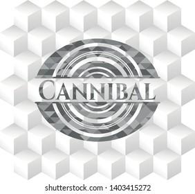 Cannibal retro style grey emblem with geometric cube white background