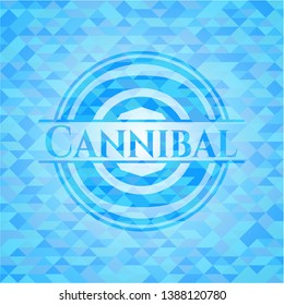 Cannibal sky blue emblem with triangle mosaic background