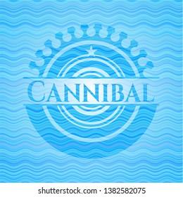 Cannibal water representation badge background. Vector Illustration. Detailed.