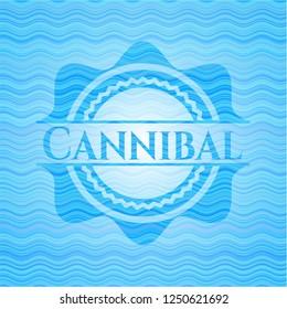 Cannibal water wave representation emblem background.