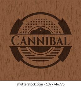 Cannibal wood emblem. Vector Illustration.