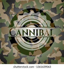 Cannibal written on a camouflage texture