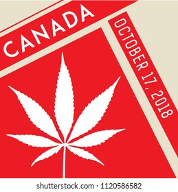 Cannibis Canada Square Stamp Icon October 17 2018. Isolated Red Vector. Legal Medical, Recreational Law Pot, Weed Leaf