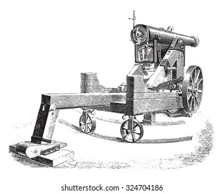 Cannon 138m/m on modified square lookout, vintage engraved illustration. Industrial encyclopedia E.-O. Lami - 1875.