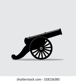 Cannon with black bomb