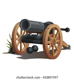 A cannon with cannonballs. Vector.