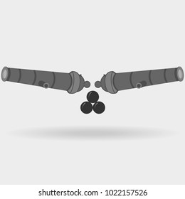 Cannon emblem. Cannon icon with cannon balls. Flat design, vector illustration, vector.