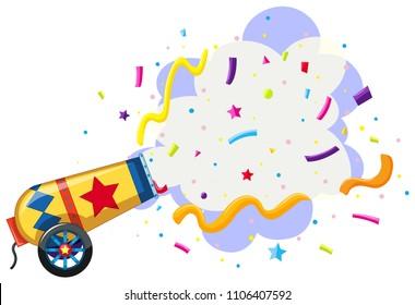 cannon exploding confetti background illustration