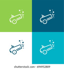 Cannon green and blue material color minimal icon or logo design
