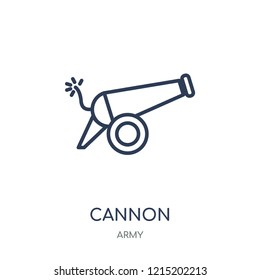 Cannon icon. Cannon linear symbol design from Army collection.