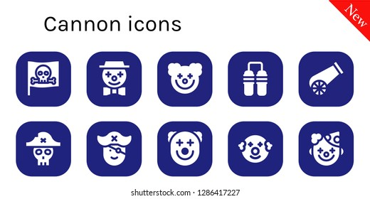 cannon icon set. 10 filled cannon icons. Simple modern icons about  - Pirate, Clown, Nunchaku, Cannon