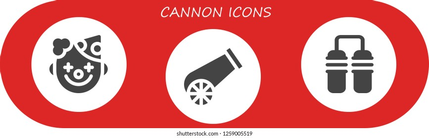 cannon icon set. 3 filled cannon icons. Simple modern icons about  - Clown, Cannon, Nunchaku