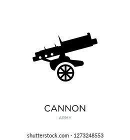 cannon icon vector on white background, cannon trendy filled icons from Army collection, cannon simple element illustration