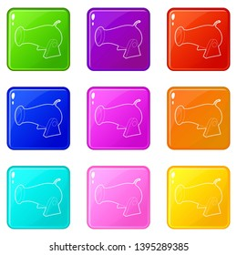 Cannon icons set 9 color collection isolated on white for any design