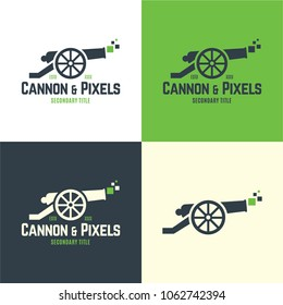 Cannon & Pixels Logo and Icon. Vector Illustration. Playful logo featuring an old cannon shooting pixels which represents coaching, marketing or  advertising that is bringing results.