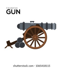 Cannon vector illustration symbol object. Flat icon style concept design