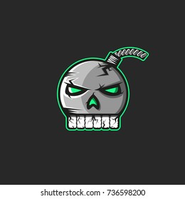 Cannonball emblem in the shape of a human skull with teeth sticker, a pirate logo for a bomb print on a T-shirt