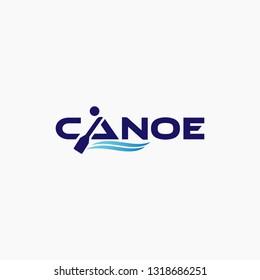 Canoe adventure. Badge  design logo element. Kayak Vector illustration