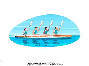 Canoe competition semi flat vector illustration. Multinational cooperation to win extreme sport game. Man and woman with paddle in boat. Athlete 2D cartoon characters for commercial use