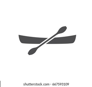 Canoe icon.  Canoe with paddle icon. Paddle vector