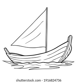 Canoe line vector illustration, isolated on white background.Boat top view