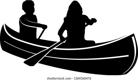 Canoe paddle Silhouette