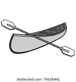Canoe and Paddles Illustration - A vector cartoon illustration of a campground Canoe and Paddles.