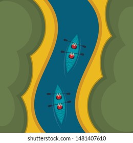 Canoe rowers isometric top view. Rowers floating in a boat on the river vector illustration