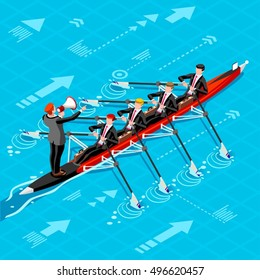 Canoe Rowing Teamwork Wins. Businesspeople win career concept infographic vector design 3D character ambitious men. Man ambition isometric people. Vector people career Isometric Business group winning