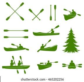 Canoe silhouettes. Rafting. Vector design elements for label, logo, emblem. Vector illustration.
