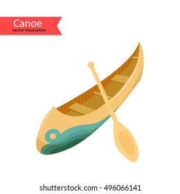 Canoe Vector Illustration Of A Isolated On White Background