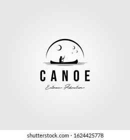 canoe vintage logo paddle outdoor vector illustration design