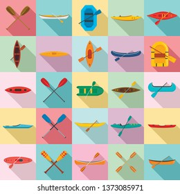 Canoeing icons set. Flat set of canoeing vector icons for web design