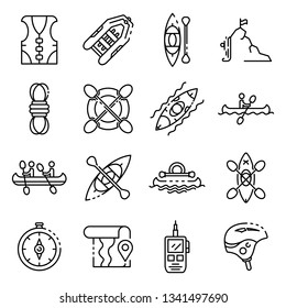 Canoeing icons set. Outline set of canoeing vector icons for web design isolated on white background
